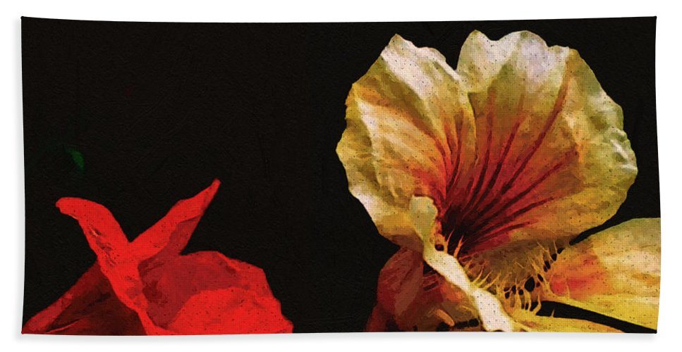 Flowers Hand Towel featuring the painting Color And Light Suspended by RC deWinter