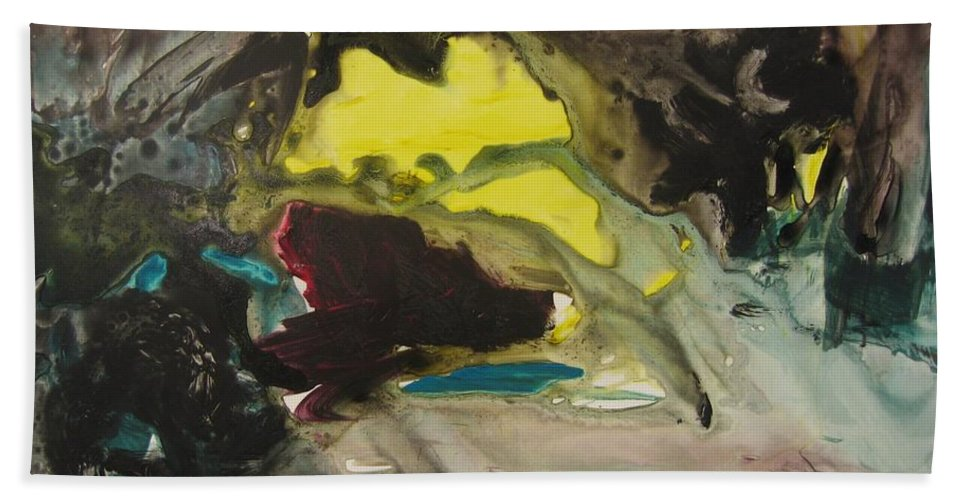 Abstract Paintings Hand Towel featuring the painting Color Fever 117 by Seon-Jeong Kim