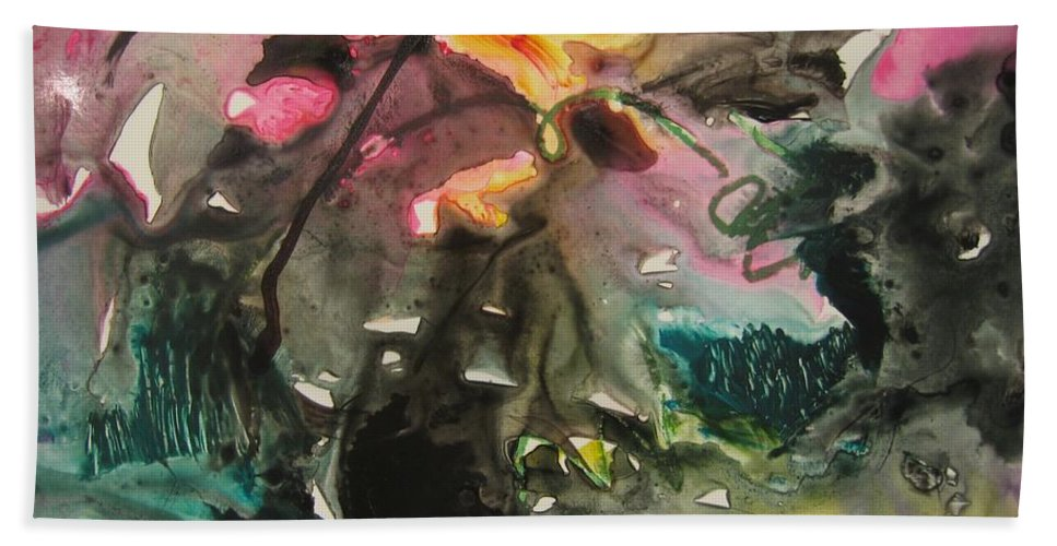 Abstract Paintings Bath Towel featuring the painting Color Fever 125 by Seon-Jeong Kim