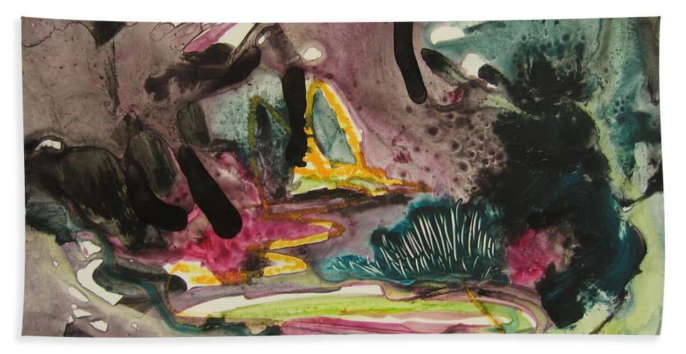 Abstract Hand Towel featuring the painting Color Fever 136 by Seon-Jeong Kim