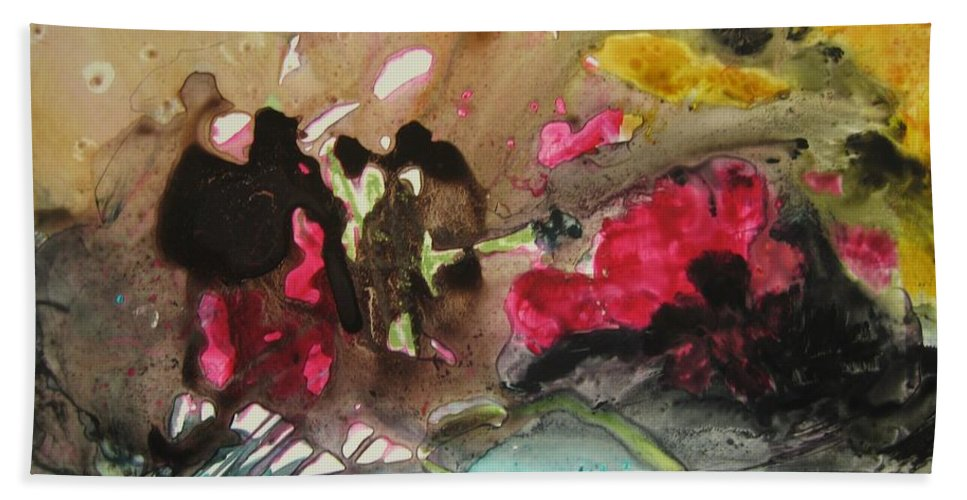 Abstract Paintings Bath Towel featuring the painting Color Fever 140 by Seon-Jeong Kim