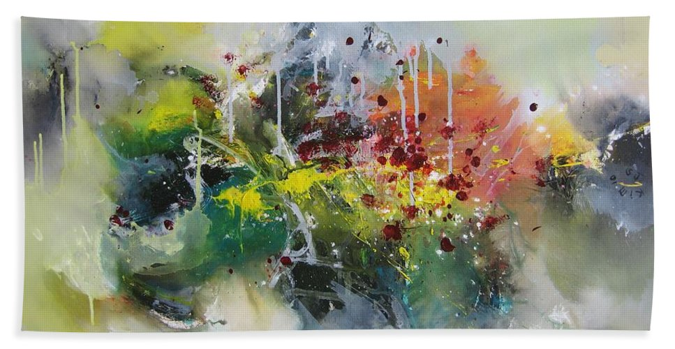 Yellow Paintings Hand Towel featuring the painting Color Fever Large 16 by Seon-Jeong Kim