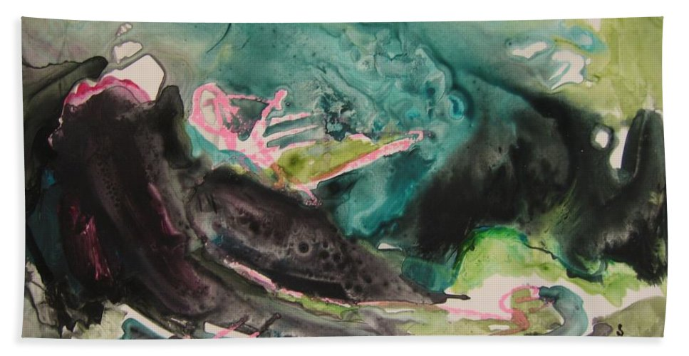 Abstract Paintings Bath Sheet featuring the painting Color Fever Series009 by Seon-Jeong Kim