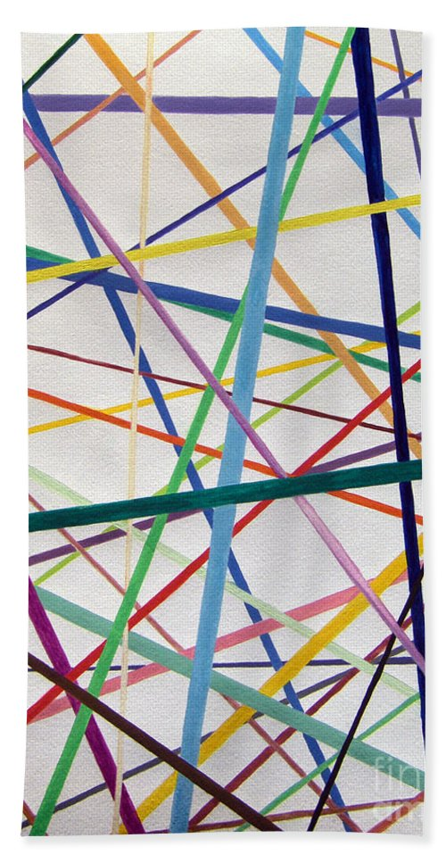 Abstract Bath Sheet featuring the painting Color Lines Variety by Lee Serenethos
