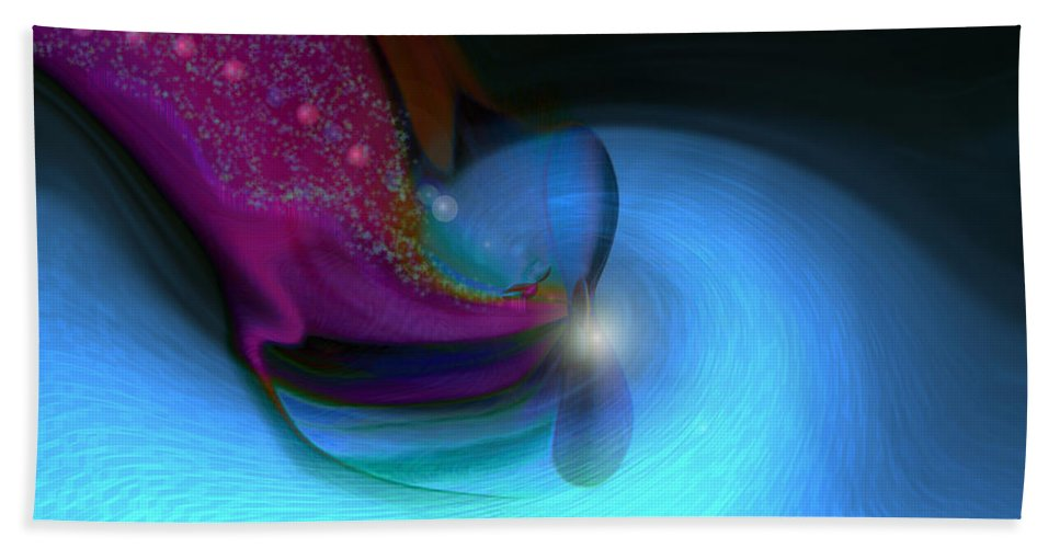Abstract Art Bath Towel featuring the digital art Color Movements by Linda Sannuti