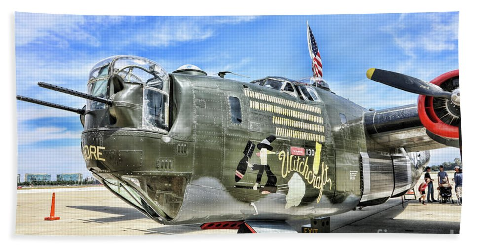 Wwii Bath Sheet featuring the photograph Color Side Wwii B-24j by Chuck Kuhn
