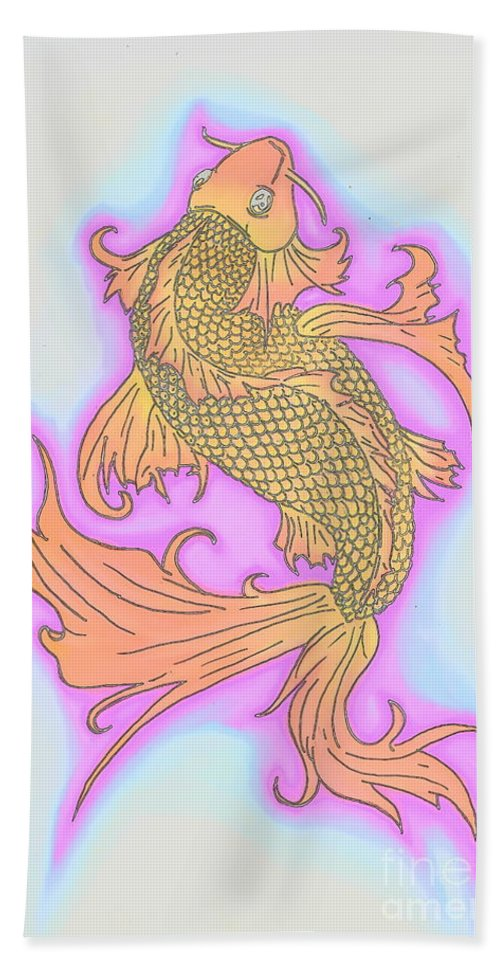 Justin W Moore Bath Sheet featuring the drawing Color Sketch Koi Fish by Justin Moore