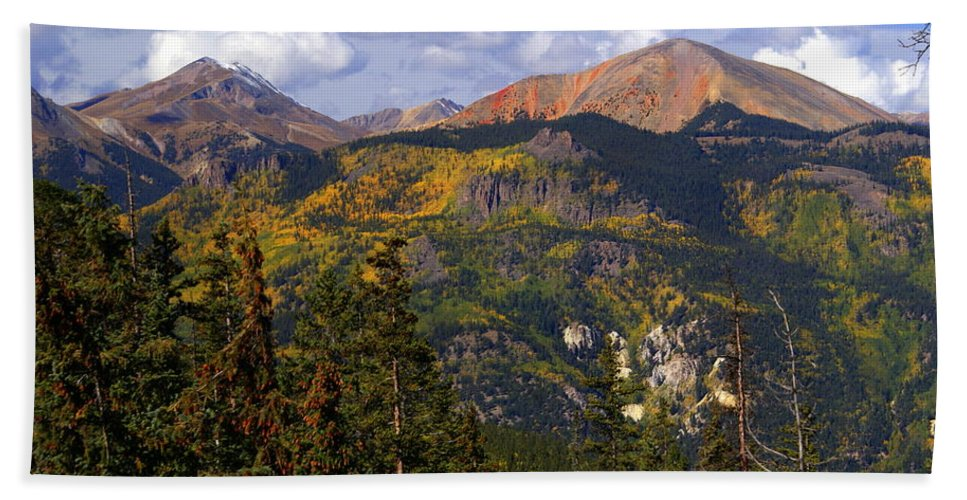 Mountain Bath Towel featuring the photograph Colorado Fall by Marty Koch
