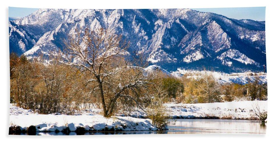 Colorado Bath Sheet featuring the photograph Colorado Flatirons 2 by Marilyn Hunt