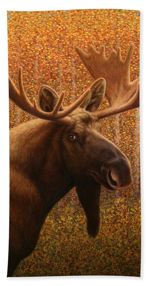 Moose Hand Towel featuring the painting Colorado Moose by James W Johnson