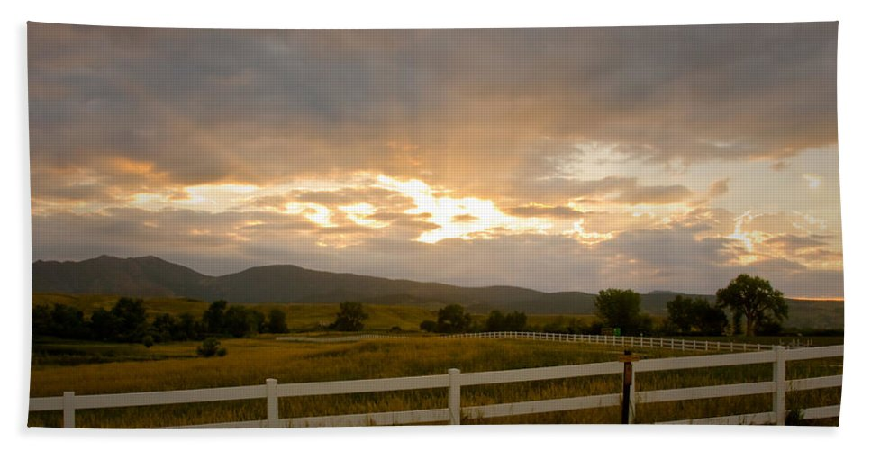 Bo Insogna Bath Sheet featuring the photograph Colorado Rocky Mountain Country Sunset by James BO Insogna