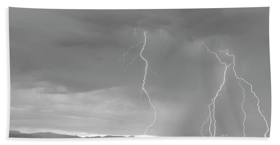 July Hand Towel featuring the photograph Colorado Rocky Mountains Foothills Lightning Strikes 2 Bw by James BO Insogna