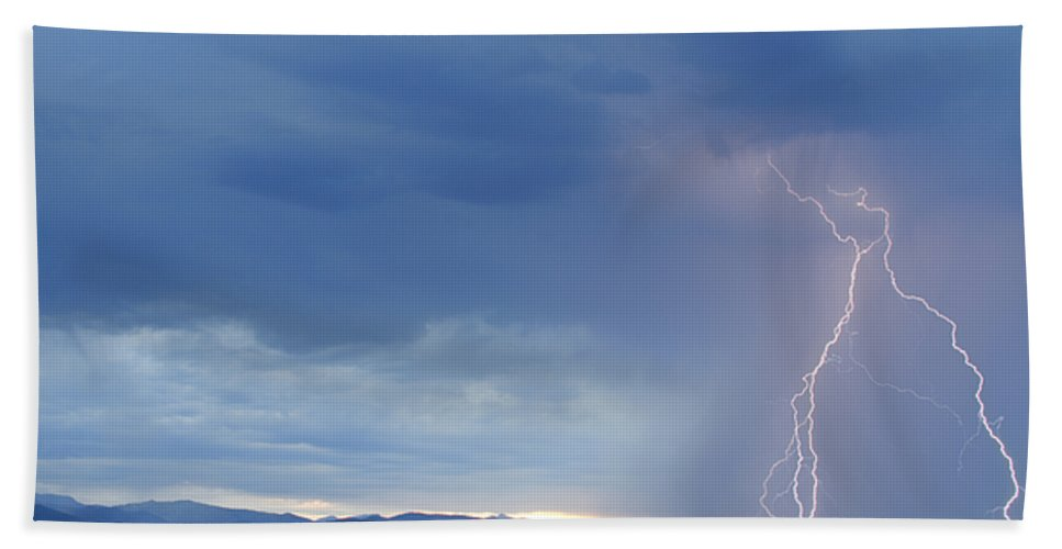 July Hand Towel featuring the photograph Colorado Rocky Mountains Foothills Lightning Strikes by James BO Insogna