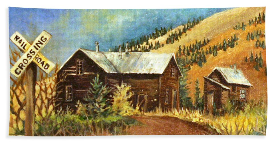 House Bath Sheet featuring the painting Colorado Shed by Linda Shackelford