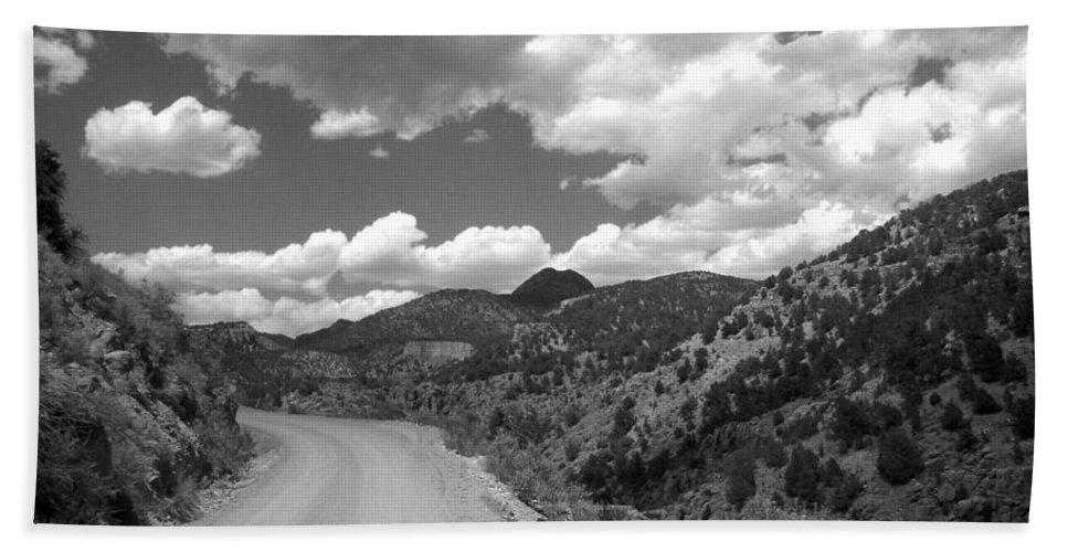 Colorado Bath Towel featuring the photograph Colorado Shelf Road 1 B-w by Anita Burgermeister