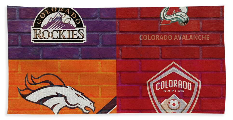 Denver Sports Teams On Brick Bath Sheet featuring the mixed media Colorado Sports Teams On Brick by Dan Sproul