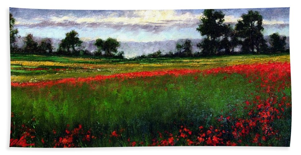 Landscape Hand Towel featuring the painting Colorburst by Jim Gola