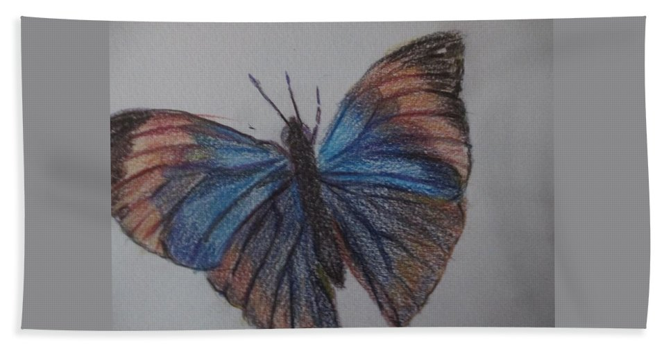 Butterfly Hand Towel featuring the painting Colored Butterfly by Katherine Berlin