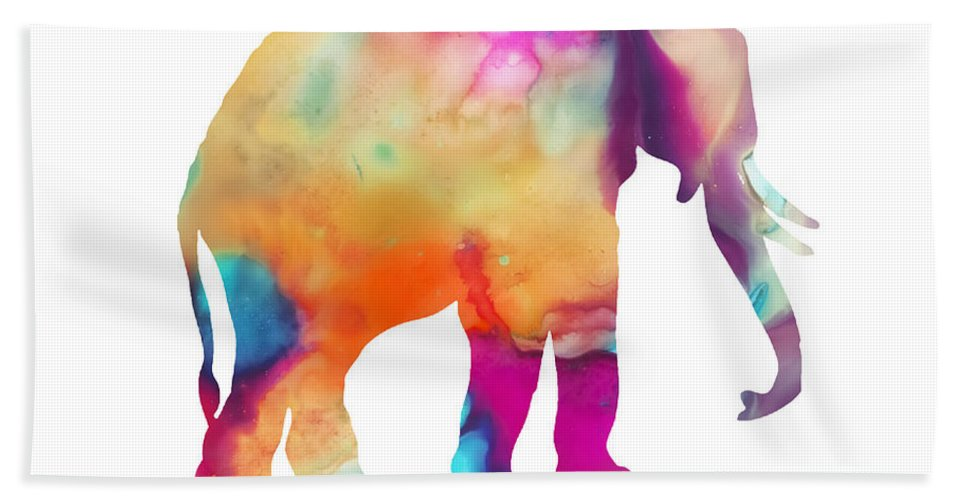 Elephant Hand Towel featuring the digital art Colored Elephant Painting by Justyna JBJart