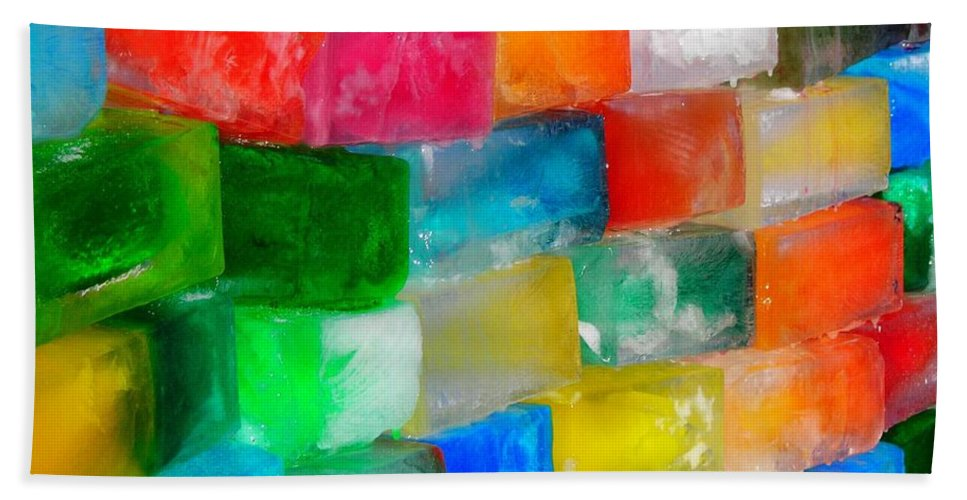 Wall Hand Towel featuring the photograph Colored Ice Bricks by Juergen Weiss