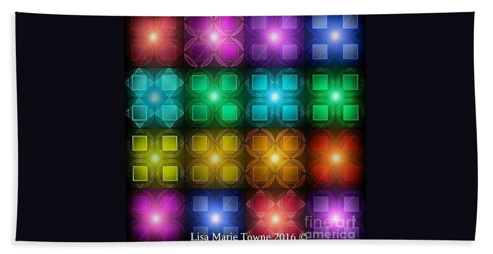 Bath Sheet featuring the digital art Colored Lights by Lisa Marie Towne