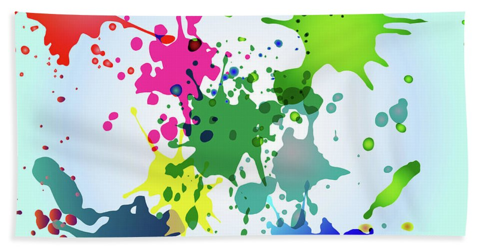 Colored Splashes On A Very Beautiful Blue Background Bath Sheet featuring the drawing Colored Splashes On A Very Beautiful Blue Background by Artur Sharakhimov