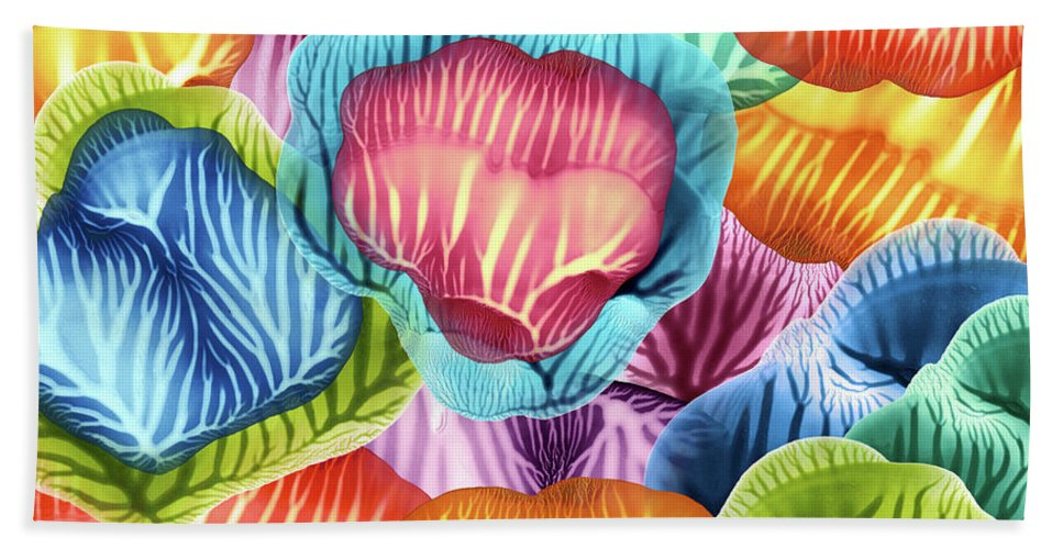 Abstract Bath Towel featuring the painting Colorful Abstract Flower Petals by Amy Vangsgard