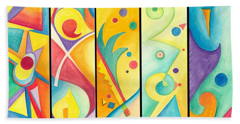 Astratto Hand Towel featuring the painting Colorful Abstract by Gloria Di Simone