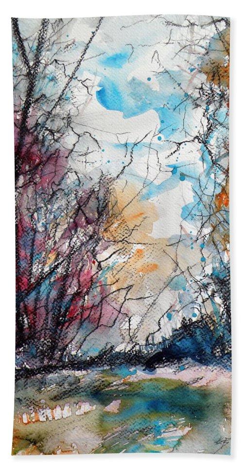 Autumn Bath Sheet featuring the painting Colorful Autumn by Kovacs Anna Brigitta