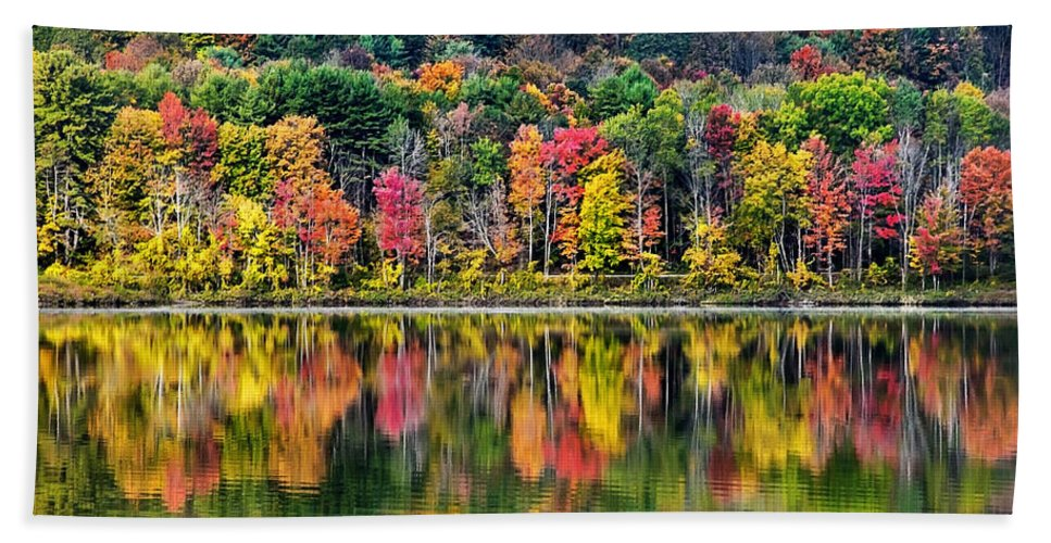 New York Bath Sheet featuring the photograph Colorful Autumn Reflections by Christina Rollo