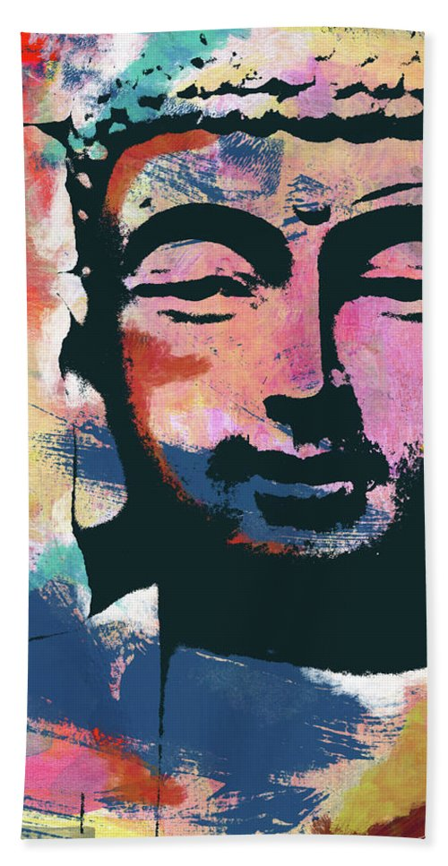Buddha Hand Towel featuring the mixed media Colorful Buddha 2- Art By Linda Woods by Linda Woods
