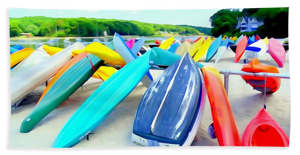 Digital Bath Sheet featuring the photograph Colorful Canoes by Ed Weidman