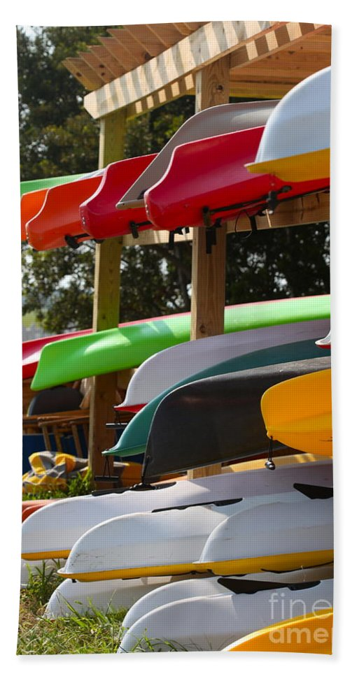 Canoes Hand Towel featuring the photograph Colorful Canoes by Nadine Rippelmeyer
