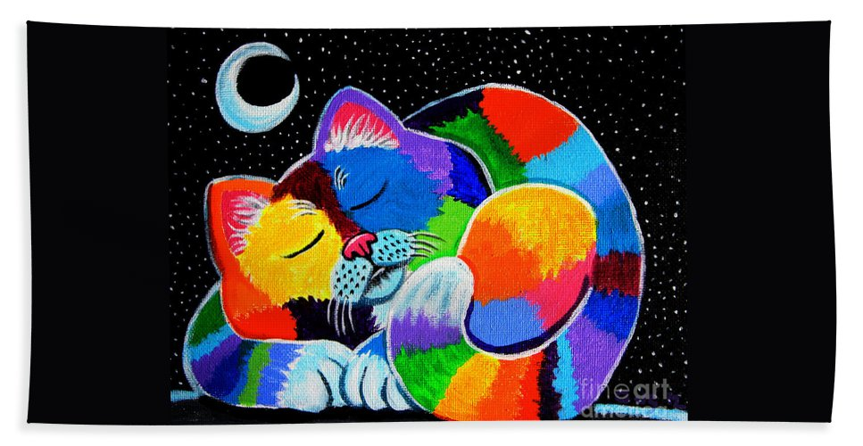 Cat Art Hand Towel featuring the painting Colorful Cat In The Moonlight by Nick Gustafson