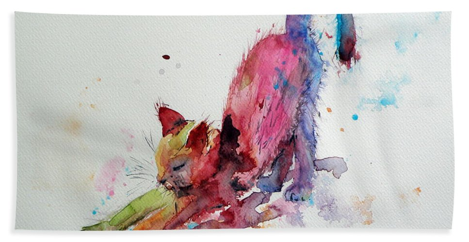 Cat Bath Sheet featuring the painting Colorful Cat by Kovacs Anna Brigitta