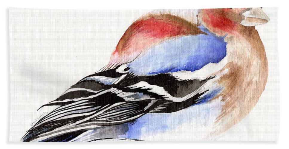 Finch Bath Sheet featuring the painting Colorful Chaffinch by Nancy Moniz