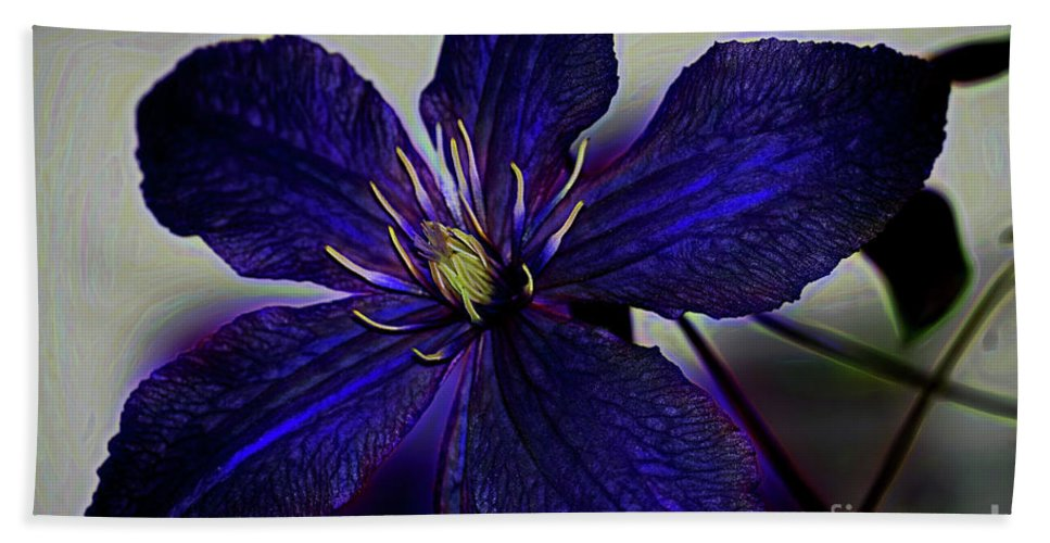 Colorful Clematis Bath Sheet featuring the photograph Colorful Clematis by Patti Whitten