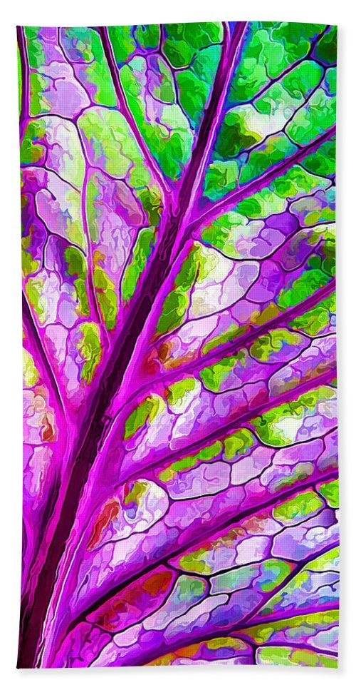 Nature Bath Sheet featuring the digital art Colorful Coleus Abstract 1 by ABeautifulSky Photography by Bill Caldwell