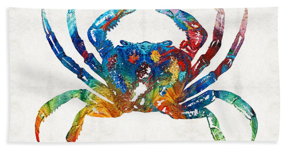 Crab Bath Towel featuring the painting Colorful Crab Art By Sharon Cummings by Sharon Cummings