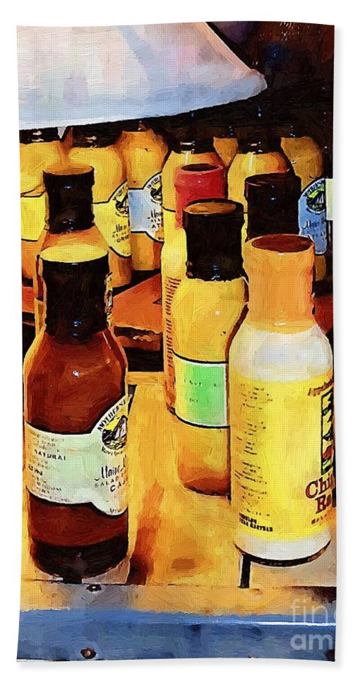 Bottles Hand Towel featuring the painting Colorful Culinary Collection by RC DeWinter