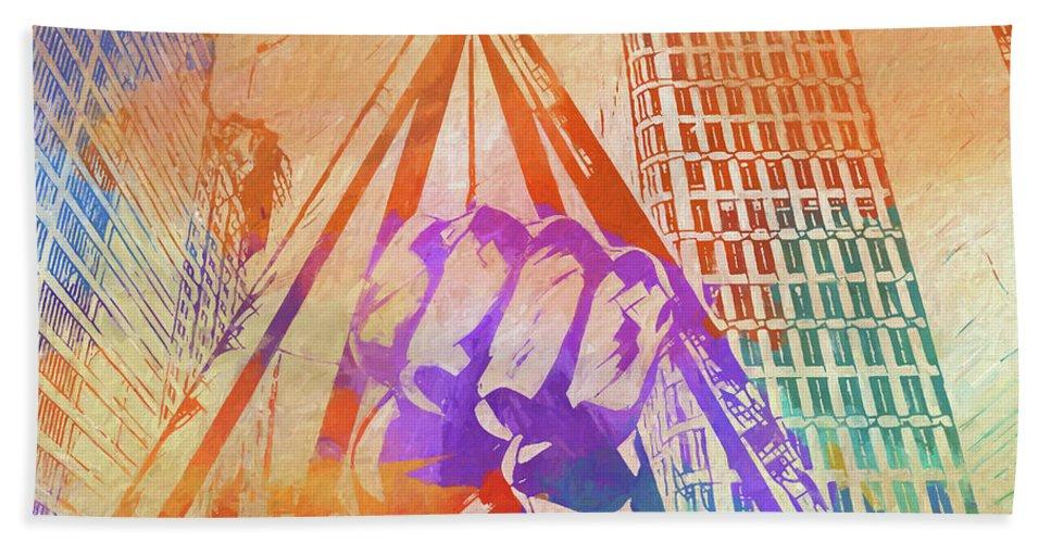 Colorful Detroit Fist Bath Towel featuring the painting Colorful Detroit Fist by Dan Sproul
