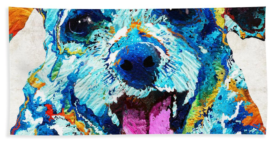 Dog Bath Sheet featuring the painting Colorful Dog Art - Smile - By Sharon Cummings by Sharon Cummings