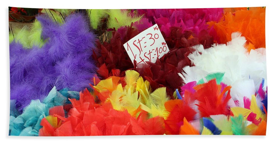 Stockholm Bath Sheet featuring the photograph Colorful Easter Feathers by Linda Woods