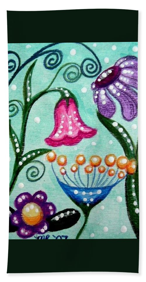 Floral Bath Towel featuring the painting Colorful Flowers by Monica Resinger