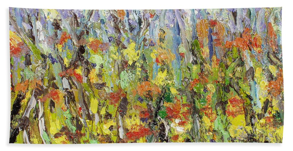 Autumn Abstract Paintings Bath Towel featuring the painting Colorful Forest by Seon-Jeong Kim