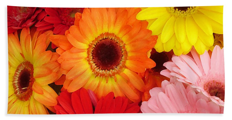 Gerber Daisy Hand Towel featuring the painting Colorful Gerber Daisies by Amy Vangsgard