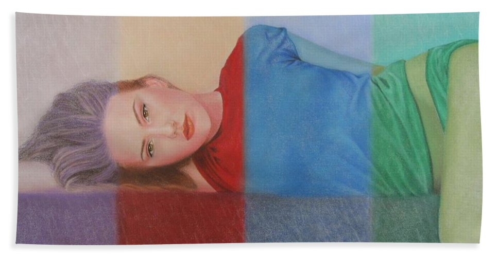 Woman Hand Towel featuring the painting Colorful Girl by Lynet McDonald