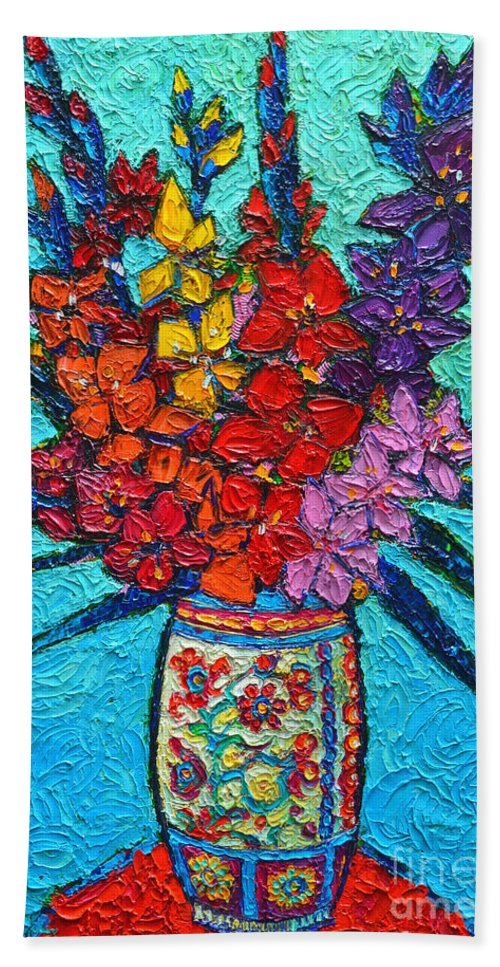 Gladiolus Hand Towel featuring the painting Colorful Gladiolus by Ana Maria Edulescu