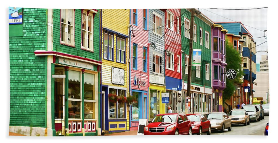 House Bath Sheet featuring the digital art Colorful Houses In St Johns In Newfoundland by Les Palenik