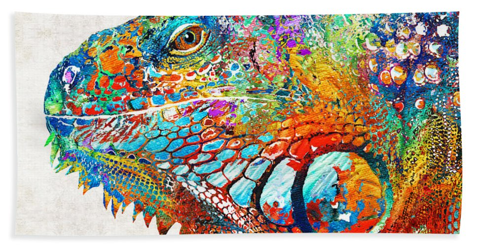 Iguana Bath Towel featuring the painting Colorful Iguana Art - One Cool Dude - Sharon Cummings by Sharon Cummings